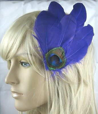 dark purple fascinator millinery peacock feather hair clip wedding piece ascot