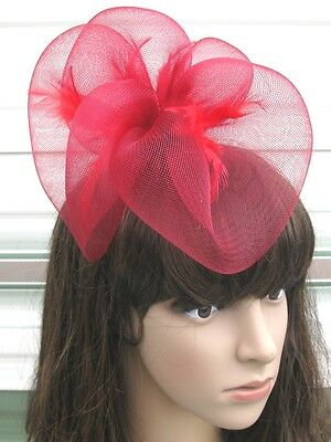 dark red fascinator millinery feather brooch clip wedding hair piece ascot 1
