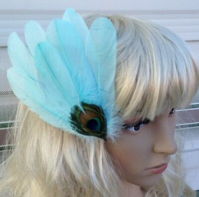 light blue fascinator millinery peacock feather hair clip wedding piece ascot