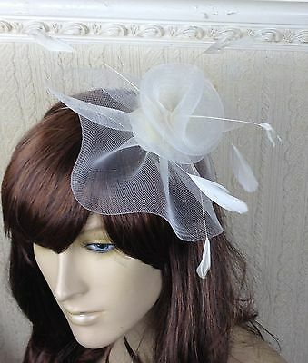 ivory netting feather hair headband fascinator millinery wedding hat ascot race