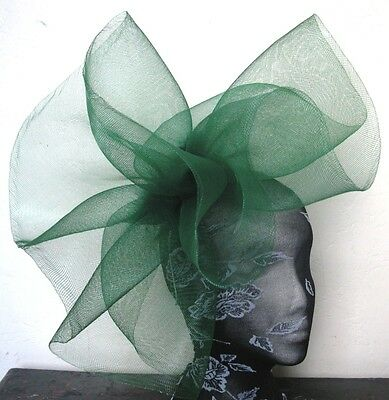 green feather fascinator millinery burlesque headband wedding hat hair piece 1