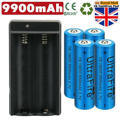 4X 9900mAh Powerful 18650 Battery 3.7v Li-ion Rechargeable Battery + Chargers