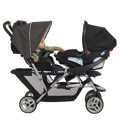 Luxury Baby Double Stroller Pushchair Foldable Buggy Infant Travel With Car Seat