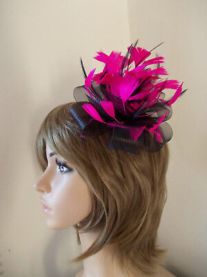 Black Cerise Hot Pink Looped fascinator feathers hair clip brooch