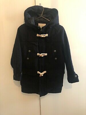 Boys Zara Navy Blue Winter Duffle Coat Hooded Jacket Kids Age 7 Years