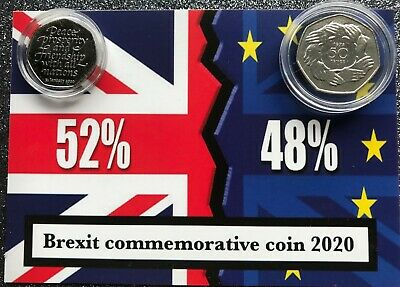 1973 and 2020  Join EU/ Brexit 50P coins mounted on BREXIT RESULT background