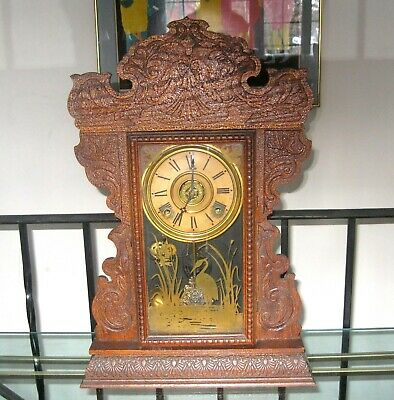 Antique Sessions Gingerbread Kitchen Mantle Clock w/ Alarm Works