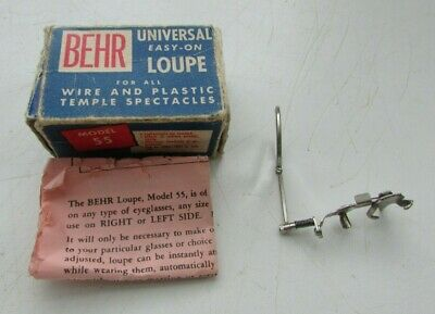 VINTAGE BEHR UNIVERSAL EASY-ON LOUPE MAGNIFIER MODEL 55 w/BOX AND INSTRUCTIONS