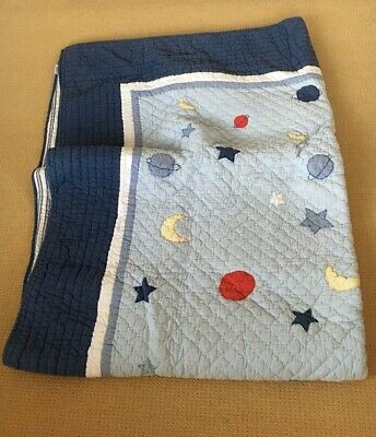 The Little White Company Single Quilt Bedspread sun, stars and moon appliqué