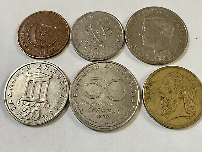 COMPLETE SET OF 1986 GREECE COINS 0.5,1,2,5,10,20,50 DRACHMAS VG-F
