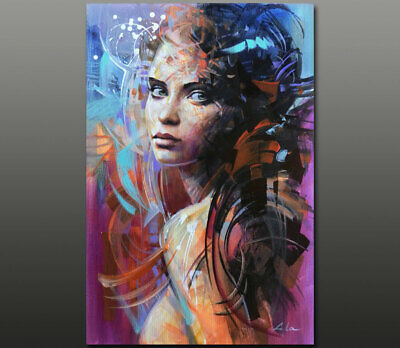 Gala ORIGINAL art abstract nude girl face portrait oil painting Large ~NEW