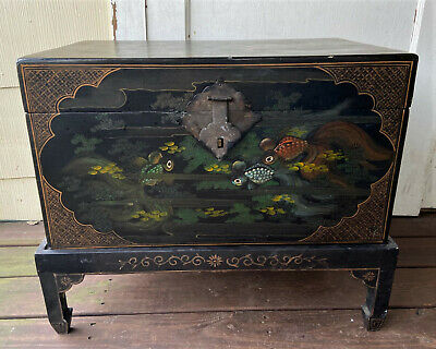 Antique Vintage Chinese Black Lacquer Blanket Wedding Trunk Chest Box w Stand