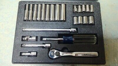 "1/4"" Drive SEARS CRAFTSMAN Tools Hand Held Socket Wrench Kit with Case"