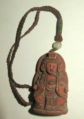 Vintage Antique Estate Chinese Carved Cinnabar Pendant Deity Motif Jade Bead