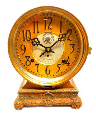 Most Unusual Seth Thomas Brass Automatic Eight Day Long Alarm Table Clock