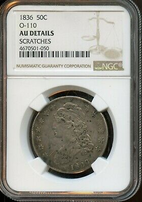 1836 50c O-110 NGC AU Details Scratches Capped Bust Silver Half Dollar BX999
