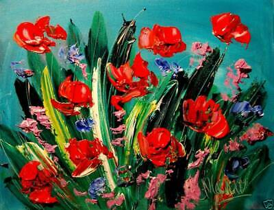 MODERN ABSTRACT flowers on green by Mark Kazav   CANVAS Original Oil Painting NR