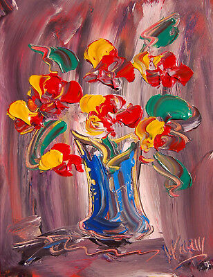 FLOWERS  Mark Kazav  Abstract Modern CANVAS Original Oil Painting Berth