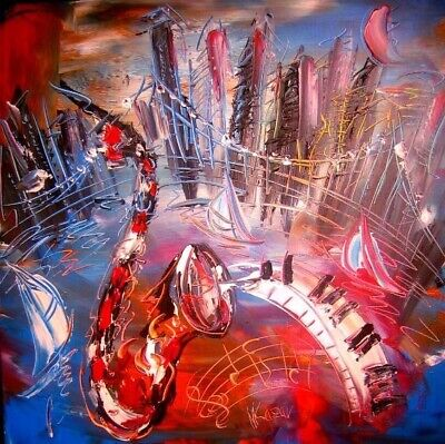 JAZZ CITY ART CANVAS IMPRESSIONIST IMPASTO ARTIST  Original Oil Painting