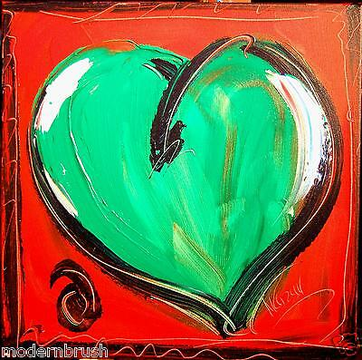 HEART  MODERN ABSTRACT ORIGINAL OIL PAINTING  TEXTU RED CANVAS Rqwfe