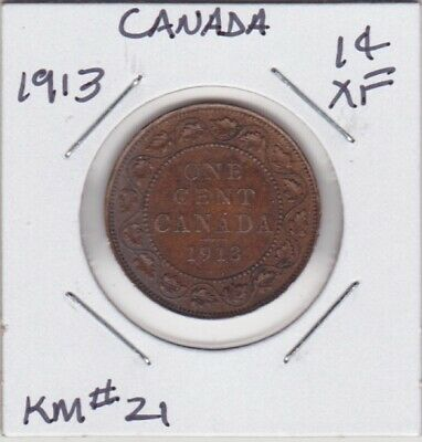 Canada 1913 Large Cent Extra Fine Km#21