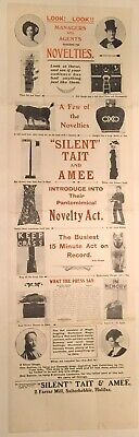 """Original Vintage Magic Poster """"Silent"""" Tate And Amee (On Canvas)"""