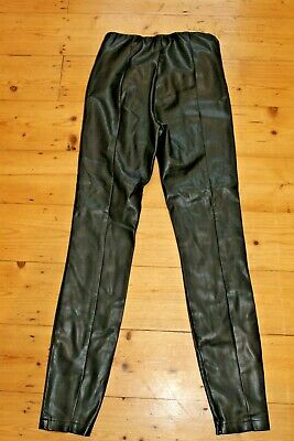 Topshop Black Faux Leather Trousers High Waist Size 10