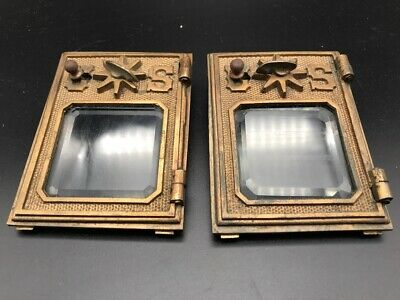 A295bd VTG Antique Cast Solid Brass Post Office Box Door AMPO Mail Beveled Glass