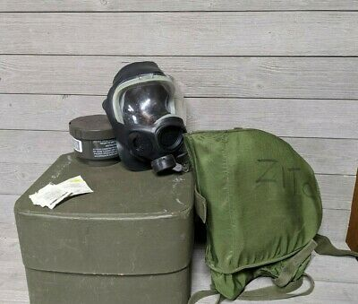 US Military MSA MCU-2P Gas Mask w/ Bag, NEW Filter, 2nd Skin, Outsert Lens SMALL