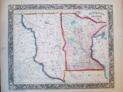 1860 Mitchell map of Minnesota, Dacotah, Nebraska Terr. * Original Antique! 0022