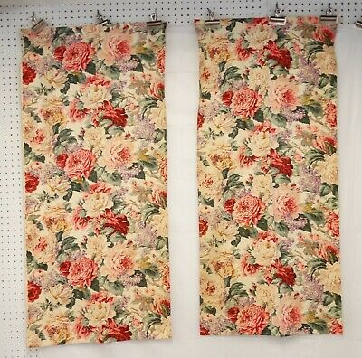Vtg 30s CABBAGE ROSES BARKCLOTH Era FLORAL Cotton Twill 2 PANELS
