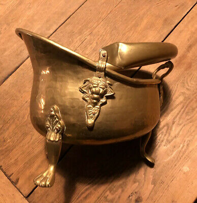 Vintage Antique Solid Brass Coal Scuttle Bucket Fireplace Accessories Vintage
