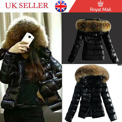 Women Fur Collar Hooded Quilted Padded Winter Coat Wet Look Jacket Super Warmer