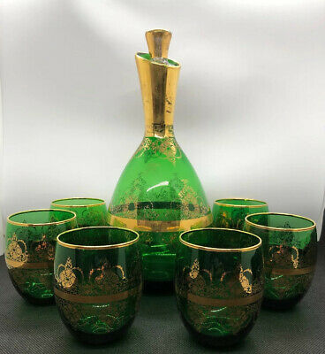 VINTAGE EMERALD GREEN GLASS With GOLD ACCENT Design DECANTER AND 6 CORDIALS