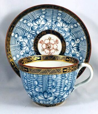 Rare Set Antique Chinese Export Blue Lotus Hand Painted & Gilded Tea Cups + Bowl