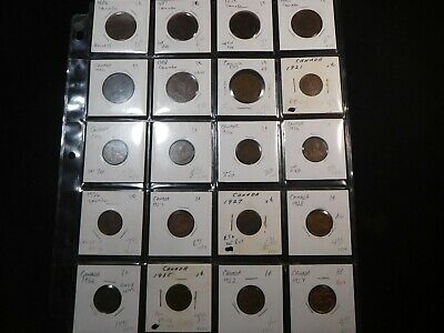 S52 Canada Small & Large Cents Marked Ready for Retail Sheet 20 pcs See Pics