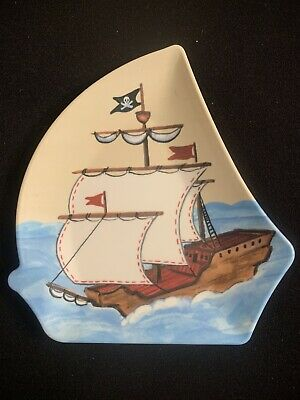 Pottery Barn Kids PIRATE SHIP Shaped Child Plate