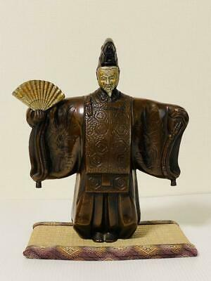 Metal Crafts Japan Noh Dancer Okina Doll Statue 165OZ Vintage Mask Folding Fan