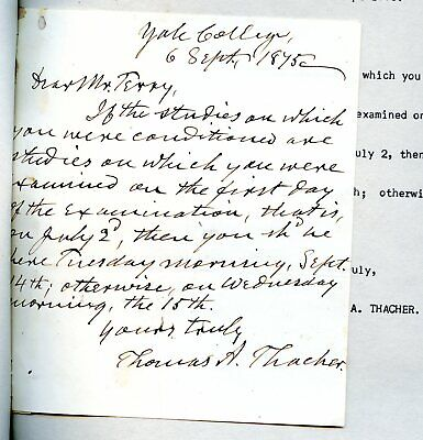 Notable YALE College Professor THOMAS A. ANTHONY 1875 Letter CLASSICIST, Leader