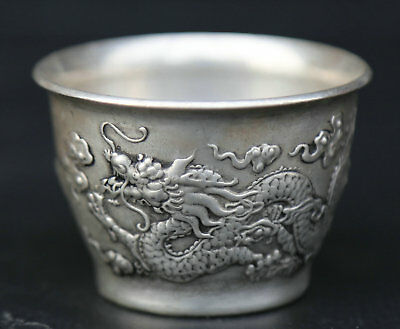 """2.2"""" Chinese Miao Silver Hand Carving 12 Zodiac Auspicious Dragon Teacup Winecup"""