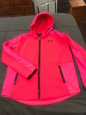Under Armour Girls Kids Coldgear Zip Up Jacket Hot Pink Size YLG Large New