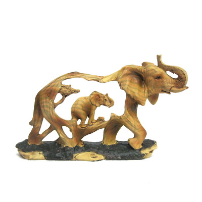 Ebros Gift Elephant and Baby Walking in The Wild Faux Wood Figurine Elephant