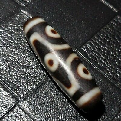 Excellent Magic Power Tibetan Agate Lucky *6Eyes* Totem Old Dzi Bead 12*40mm