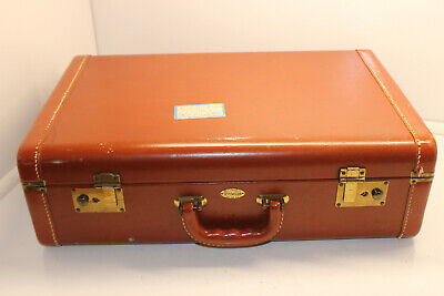 "Maximillion New York Brown Leather Hyde Hard Shell Stitched 21"" Suitcase"