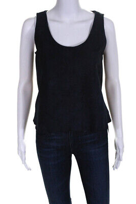 Theory Womens Suede Zelia Tank Top Nay Blue Size Small