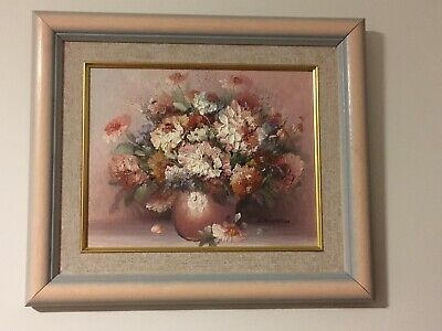 Beautiful Framed Original Oil Painting of Vase of Flowers signed K Stone
