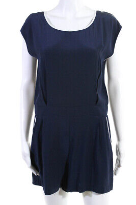 STS Sail To Sable Womens Pleated Sleeveless Scoop Neck Romper Blue Silk Size S