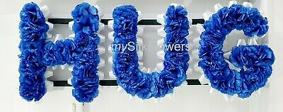 HUG Artificial Silk Funeral Flowers Any 3 Letter Name Tribute Wreath DAD SON MUM