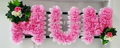 MUM Artificial Silk Funeral Flowers Any 3 Letter Name Tribute Wreath NANNY MAM
