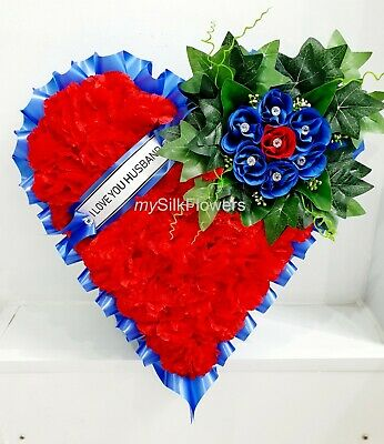 Artificial Silk Funeral Flowers Heart Wreath Tribute  Memorial Rose Mum Nan